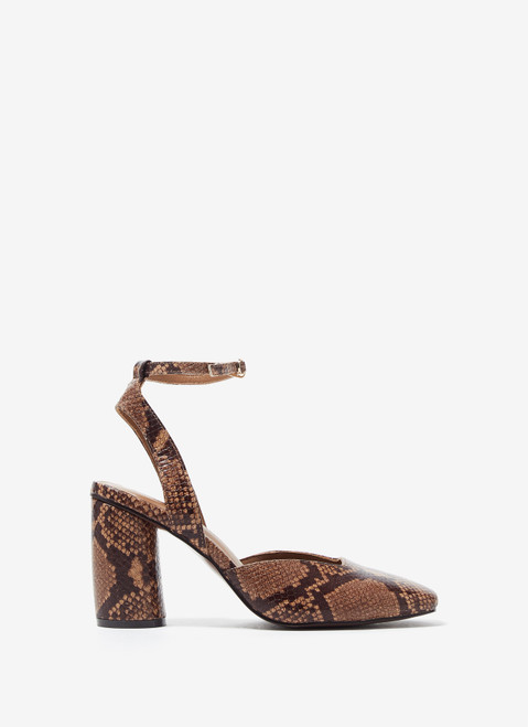 ANIMAL PRINT LEATHER OPEN SHOES WITH ANIMAL PRINT