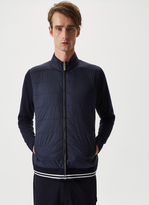 Navy Blue Cardigan With Nylon Front