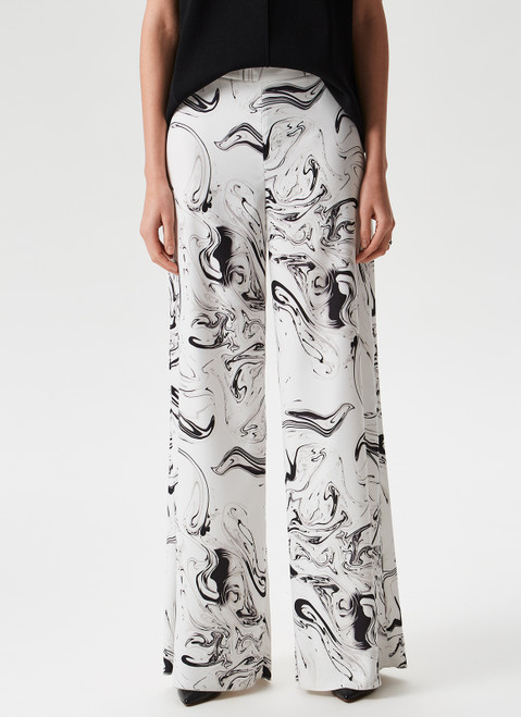 WHITE PRINT FLUID WIDE TROUSERS WITH PRINT