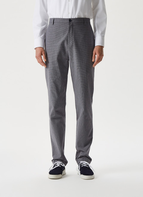 GREY/BLACK HOUNDSTOOTH PRINT TROUSERS