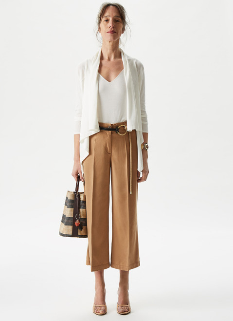 Camel Lyocell Cropped Trousers