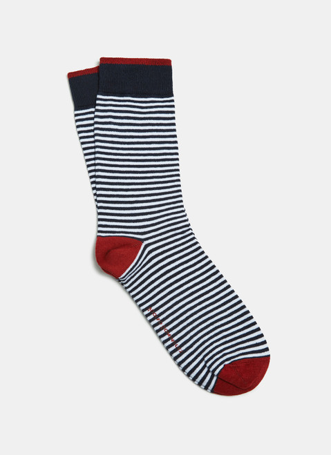 Blue/White Low Cut Socks With Stripes
