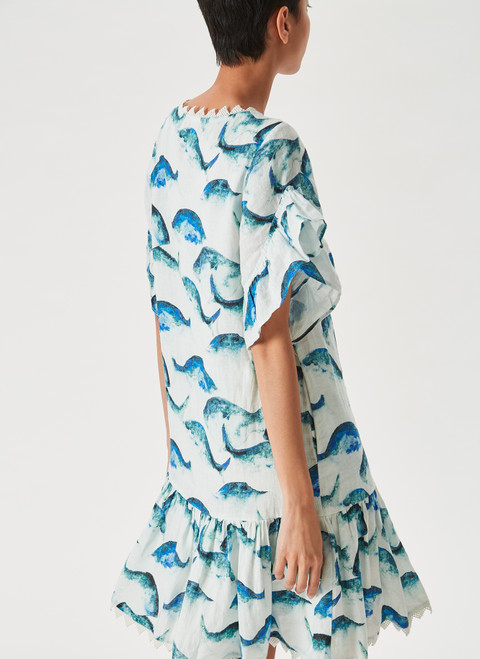 Multicolor Short Dress With Fish Print