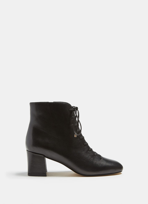 Black Lace Up Ankle Boots With Solid Heel