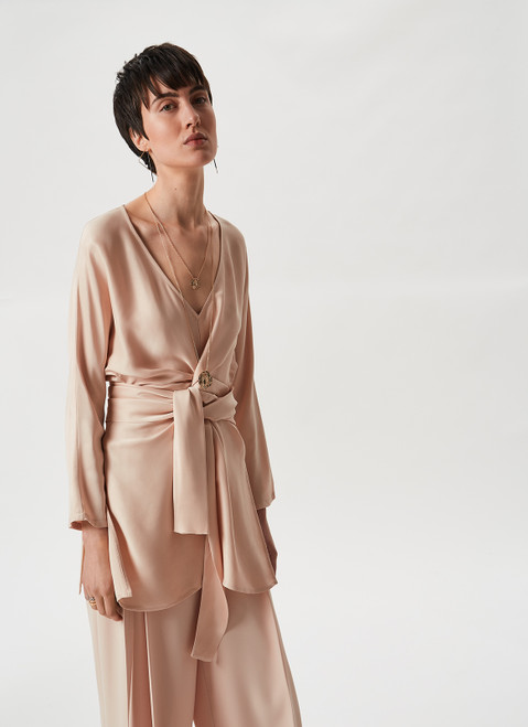 Camel Viscose Shirt With Wrapping Belt