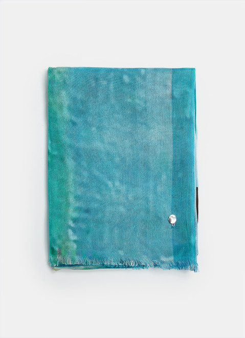 Turquoise Modal Scarf With Ocean Print