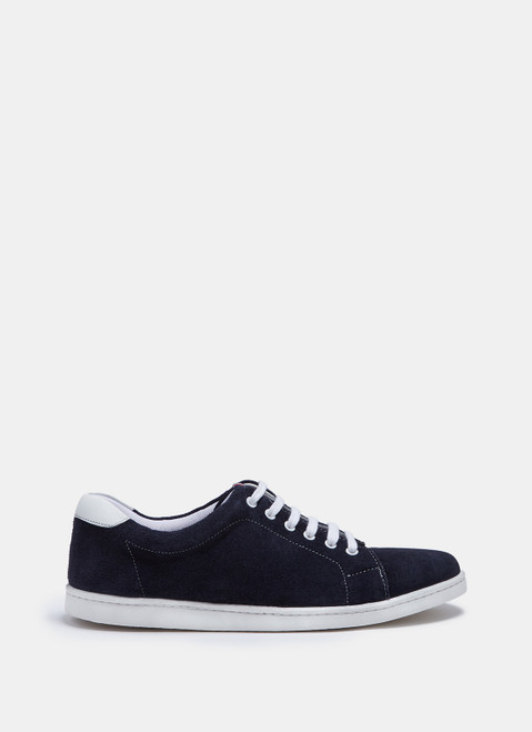 Navy Blue Suede Sneakers With White Sole