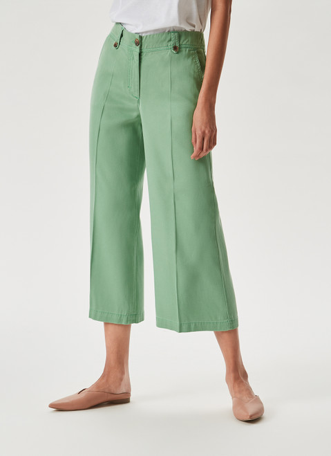 Green Lyocell Cropped Trousers