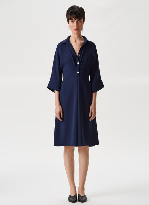 NAVY BLUE SHIRT DRESS WITH ELBOW SLEEVE