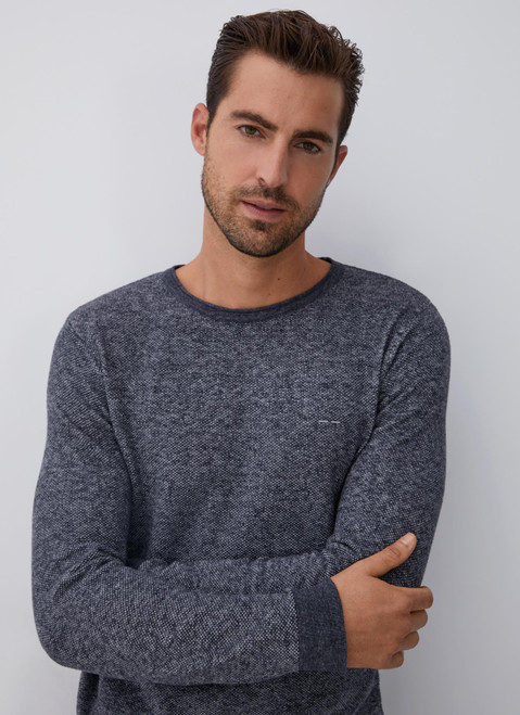 Black Mottled Sweater With Crew Collar
