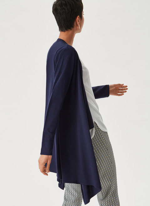 Blue Mallard Knit Jacket With Wrapping Silhouette