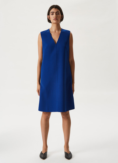 Blue Double-Face Dress With V-Neckline