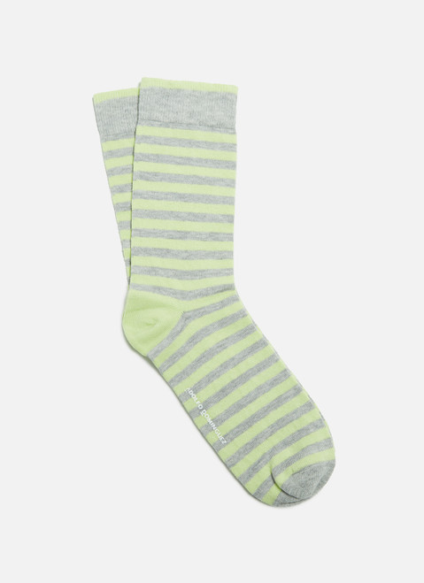 Lime Socks With Wide Stripes