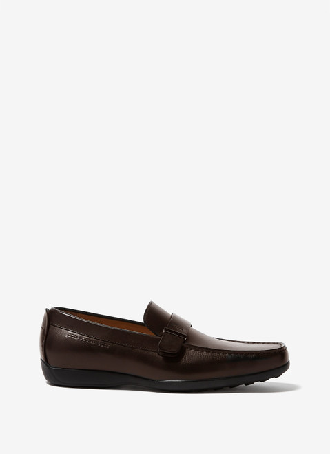 Brown Leather Moccasins With Rubber Sole