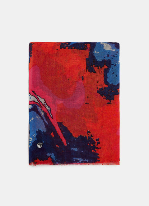 Multicolor Viscose Scarf With Abstract Print