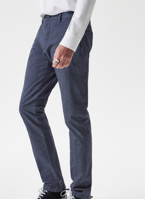 BLUE STRETCH TROUSERS WITH MICRO-MOTIF