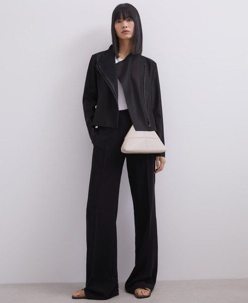 BLACK HIGH-WAISTED STRAIGHT TROUSERS