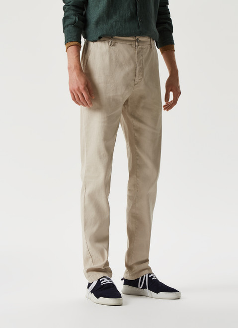 SAND CHINO TROUSERS WITH MICRO-MOTIF