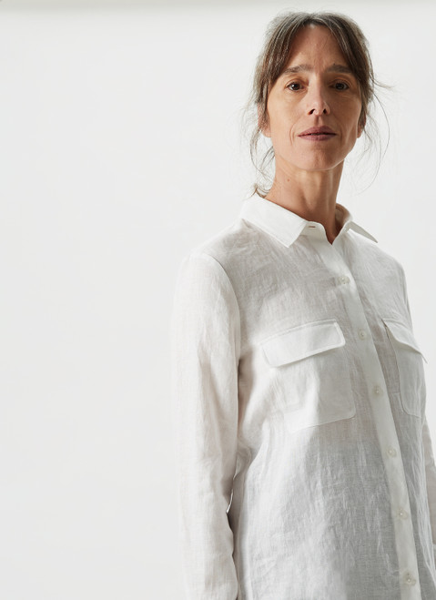 White Linen Shirt With Chest Pockets