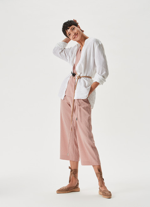 Pink Cropped Trousers With Vichy Print
