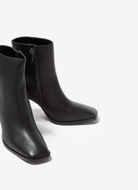 Black Leather Ankle Boots With High Heel