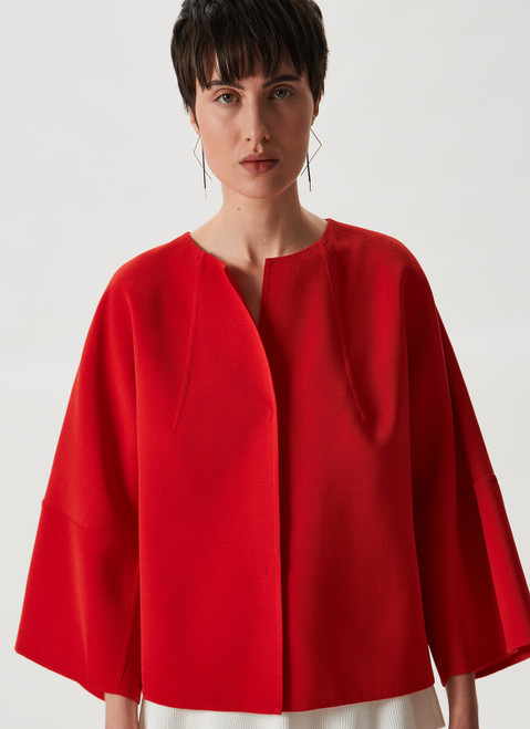 RED DOUBLE-FACED COLLARLESS JACKET