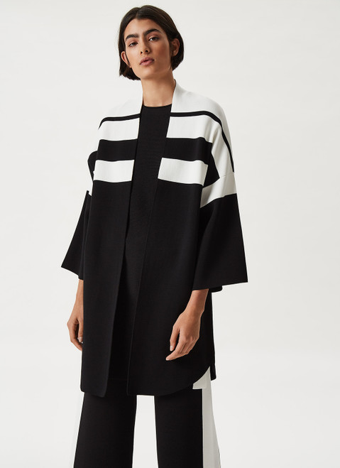Black And White Knit Fluid Jacket With Bicolour Design
