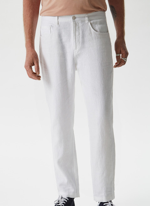 WHITE 100% LINEN TROUSERS WITH FIVE POCKETS