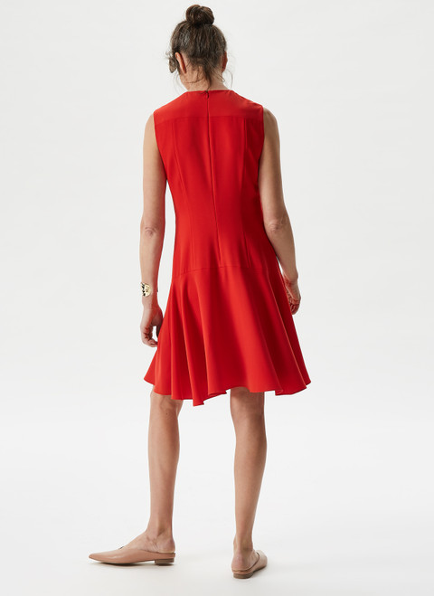 RED EVASE CUT DRESS WITH FRONT BUTTONS
