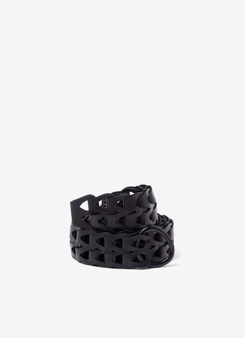 BLACK LEATHER LINKS BELT WITH BUCKLE