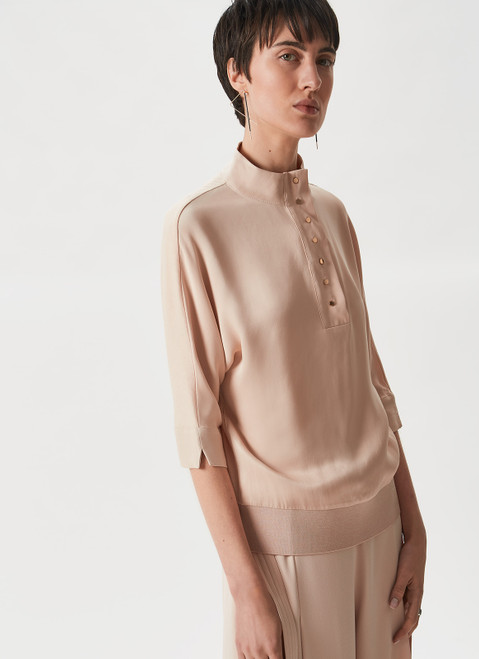 NUDE COMBINED SHIRT WITH RAISED COLLAR