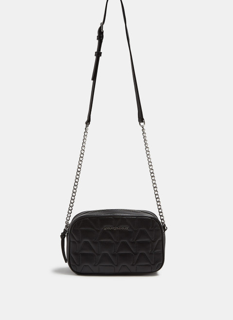Black Quilted Leather Squared Crossbody Bag