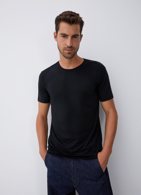 BLACK LYOCELL AND COTTON T-SHIRT