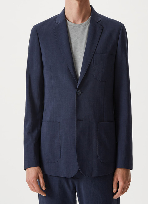 Navy Blue Polyester Blazer With Visible Stitching