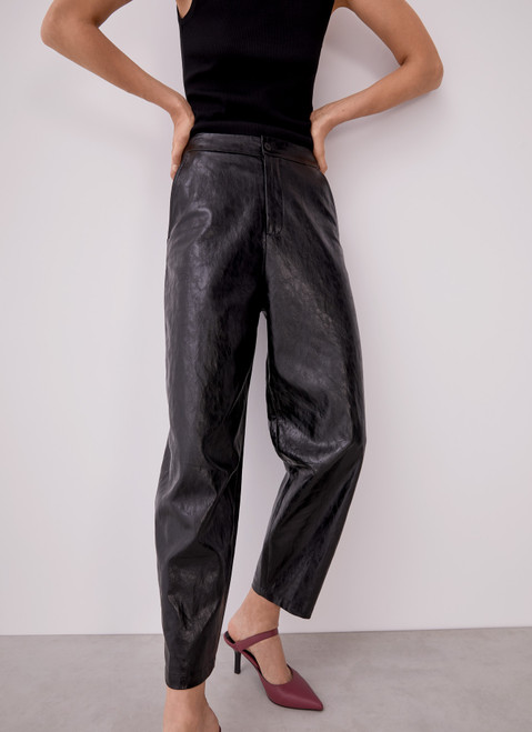 Black Faux Leather Slouchy Trousers