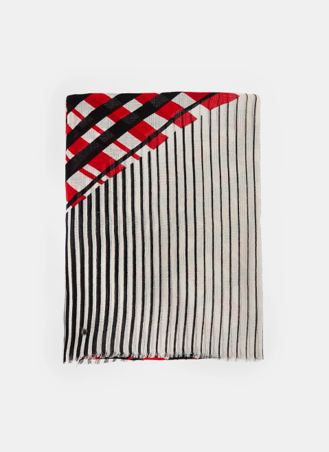 Black/Red Cotton Shawl With Multiline Print