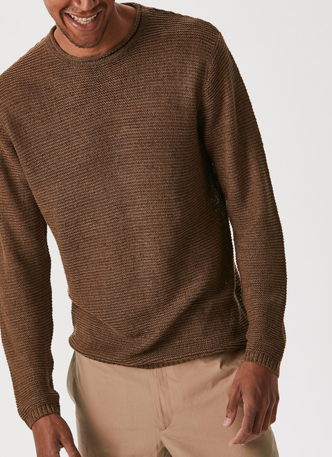 Taupe Rustic Linen Crew Neck Sweater