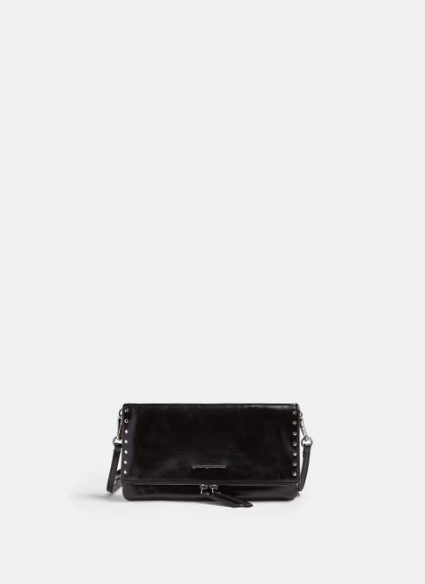 Black Leather Baguette Clutch With Studs