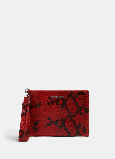 Red Leather Clutch With Crocodile Finish