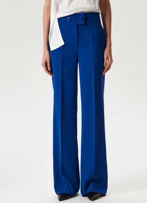 Blue Fluid Trousers With Decorative Buttons