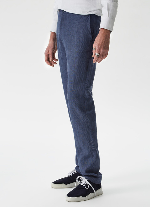 NAVY BLUE STRIPED LINEN TROUSERS