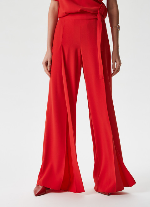 RED PALAZZO TROUSERS WITH MATCHING BEL