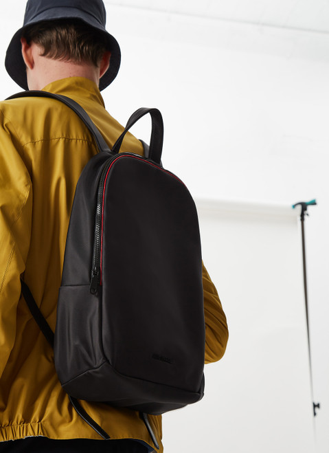 Black Backpack With Contrasting Piping