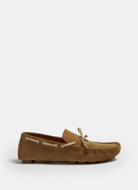 Beige Suede Moccasins With Rubber Sole