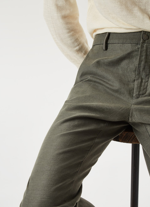GREEN ELASTICC LINEN AND COTTON CHINO TROUSERS