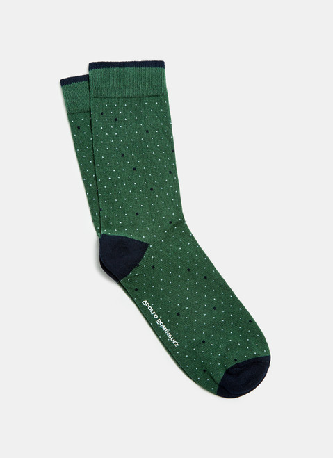 Green/White Low Cut Socks With Checked Motif