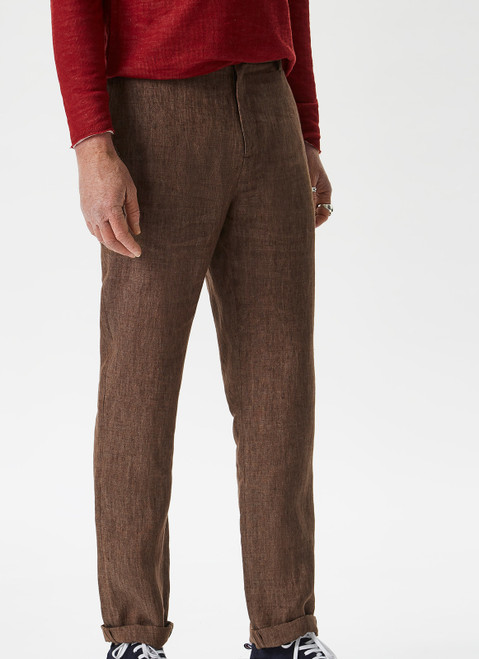 BROWN VIGORE LINEN TROUSERS WITH STRAIGHT LEG
