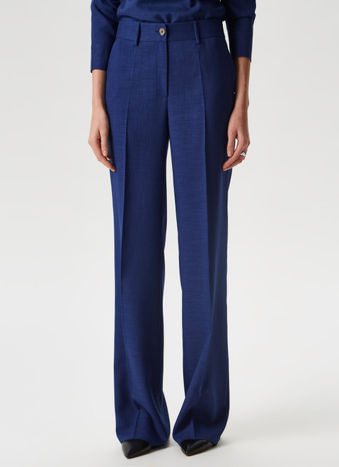 Navy Blue Fluid Flare Trousers