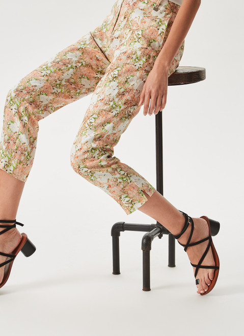 Multicolor Linen Trousers With 'Orballo' Print