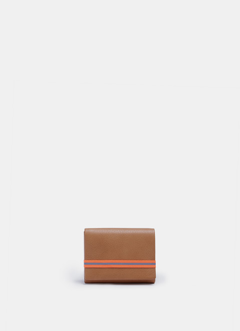 Tan Leather Wallet With Neon Elastic Closure